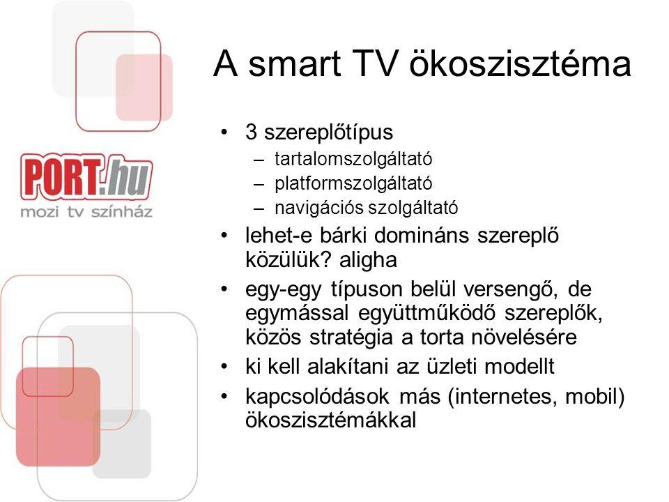 A smart TV ökoszisztéma 3 szereplőtípus –tartalomszolgáltató –platformszolgáltató –navigációs szolgáltató lehet-e bárki domináns szereplő közülük? ali