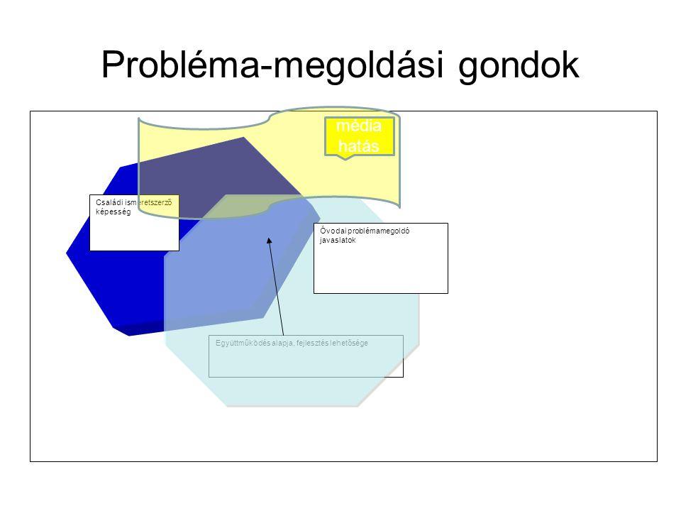 Probléma-megoldási gondok Együttműködés alapja, fejlesztés lehetősége Családi ismeretszerző képesség Óvodai problémamegoldó javaslatok média hatás