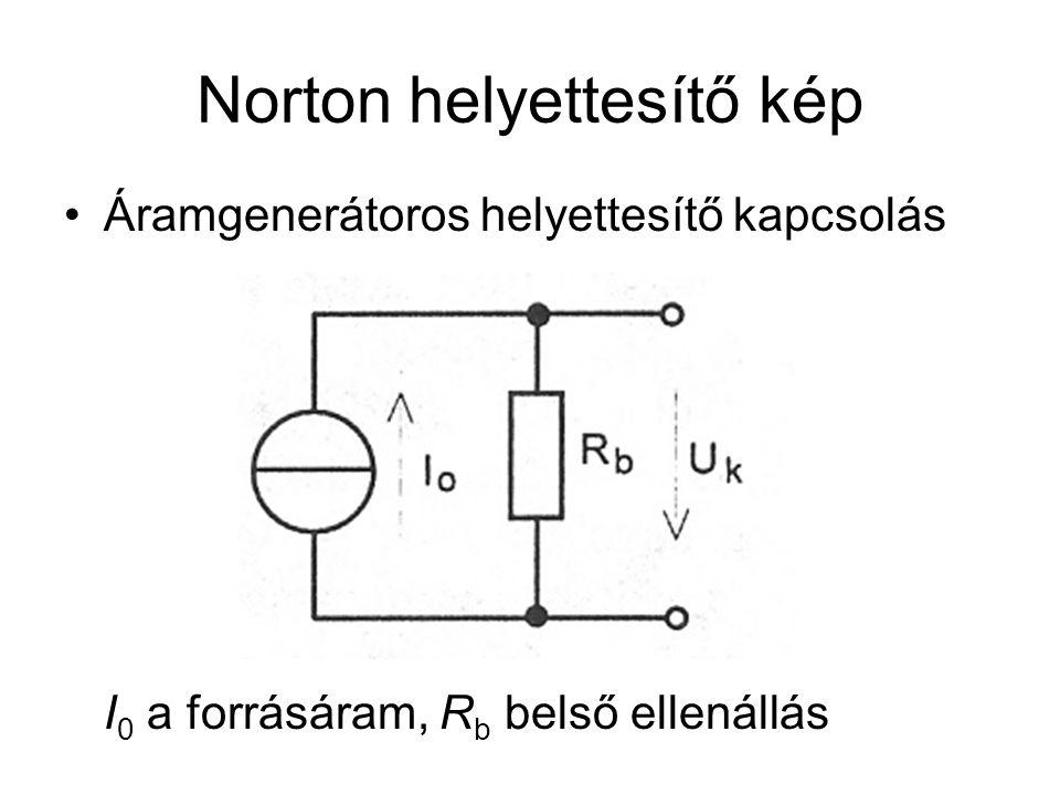 Norton helyettesítő kép Áramgenerátoros helyettesítő kapcsolás I 0 a forrásáram, R b belső ellenállás