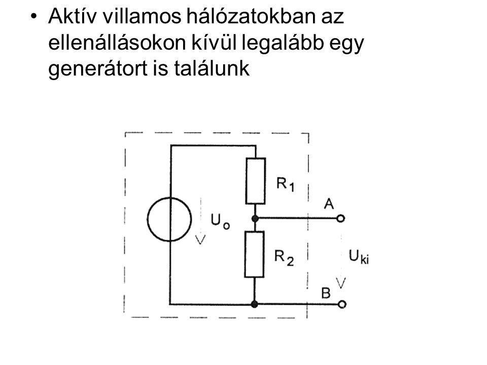 Thevenin tétele Egy valódi generátor, vagy bármely aktív kétpólus viselkedése leutánozható egy ideális feszültséggenerátorból és egy ehhez kapcsolódó R b ellenállásból álló hálózattal Thevenin helyettesítő kép: