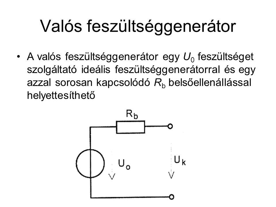 Uo feszültséget forrásfeszültségnek, generátor- feszültségnek, belső feszültségnek, elektromotoros erőnek nevezzük Terheléskor R b belső ellenállás az R t terhelő ellenállással feszültségosztót alkot A generátor kivezetésein ezért U 0 -nál kisebb ún.