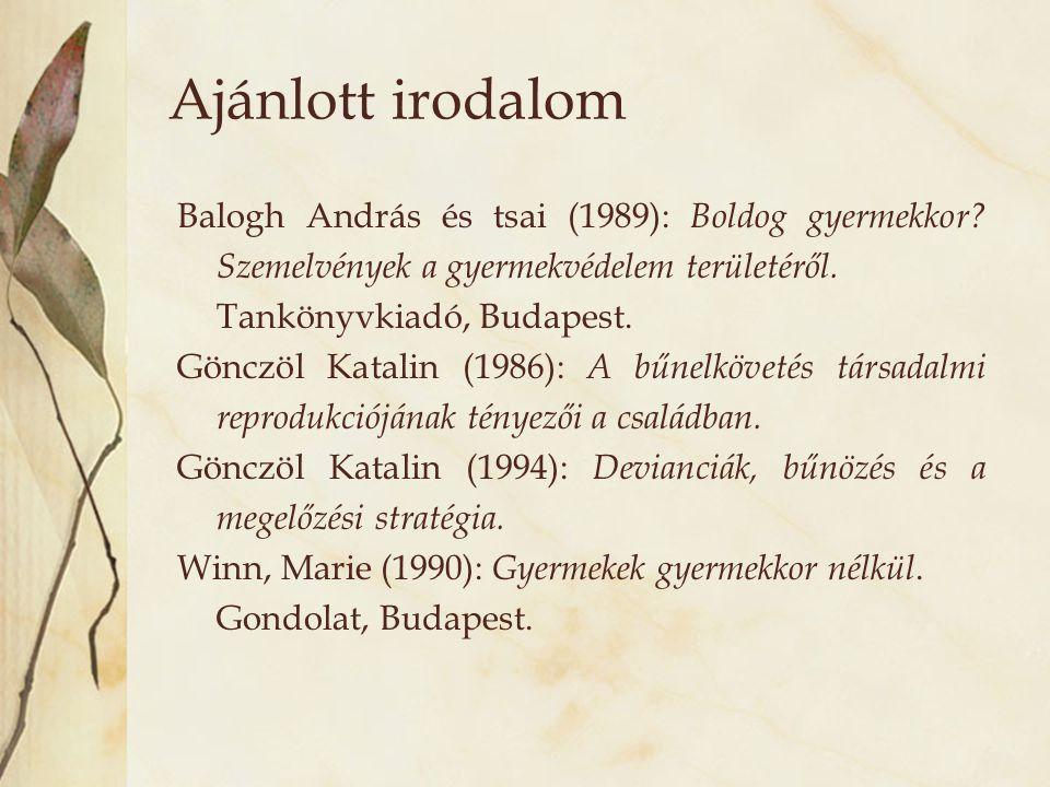Ajánlott irodalom Balogh András és tsai (1989): Boldog gyermekkor? Szemelvények a gyermekvédelem területéről. Tankönyvkiadó, Budapest. Gönczöl Katalin