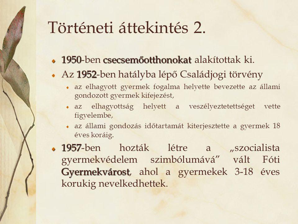 Történeti áttekintés 2. 1950csecsemőotthonokat 1950-ben csecsemőotthonokat alakítottak ki. 1952 Az 1952-ben hatályba lépő Családjogi törvény az elhagy