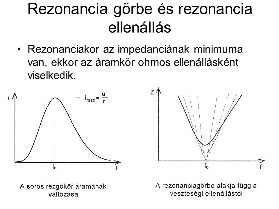 Rezonancia görbe és rezonancia ellenállás Rezonanciakor az impedanciának minimuma van, ekkor az áramkör ohmos ellenállásként viselkedik.