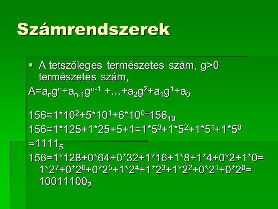 Számrendszerek  A tetszőleges természetes szám, g>0 természetes szám, A=a n g n +a n-1 g n-1 +…+a 2 g 2 +a 1 g 1 +a 0 156=1*10 2 +5*10 1 +6*10 0= 156