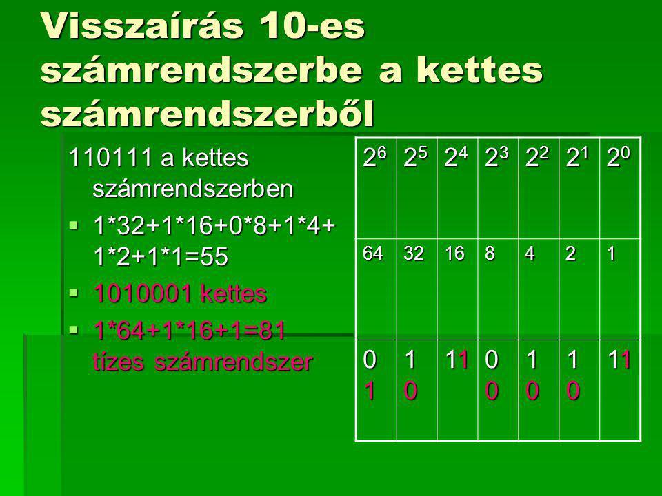 Visszaírás 10-es számrendszerbe a kettes számrendszerből 110111 a kettes számrendszerben  1*32+1*16+0*8+1*4+ 1*2+1*1=55  1010001 kettes  1*64+1*16+