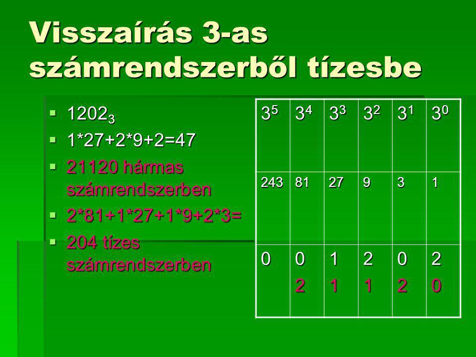 Visszaírás 3-as számrendszerből tízesbe  1202 3  1*27+2*9+2=47  21120 hármas számrendszerben  2*81+1*27+1*9+2*3=  204 tízes számrendszerben 35353