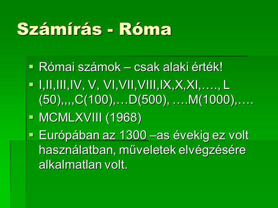 Számírás - Róma  Római számok – csak alaki érték!  I,II,III,IV, V, VI,VII,VIII,IX,X,XI,…., L (50),,,,C(100),…D(500), ….M(1000),….  MCMLXVIII (1968)
