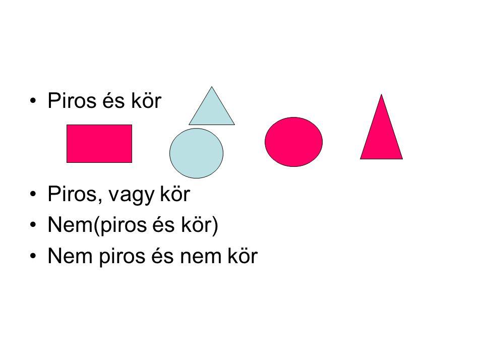Piros és kör Piros, vagy kör Nem(piros és kör) Nem piros és nem kör