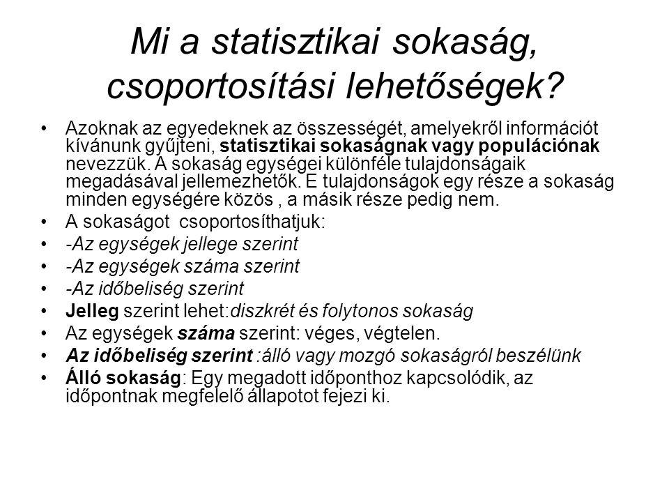 Mi a statisztikai sokaság, csoportosítási lehetőségek? Azoknak az egyedeknek az összességét, amelyekről információt kívánunk gyűjteni, statisztikai so