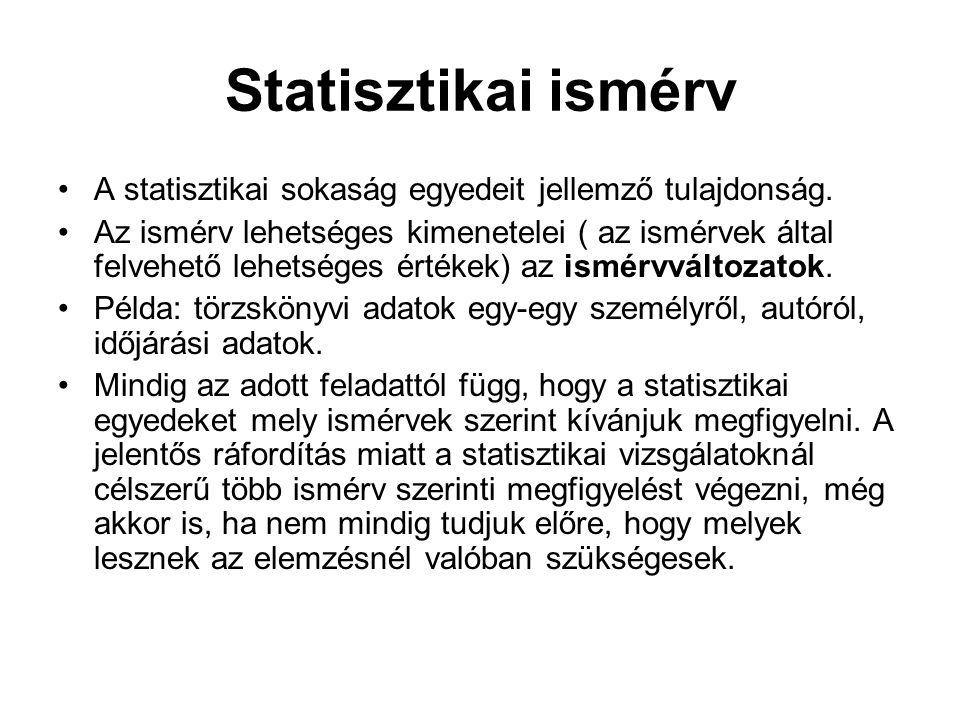 Statisztikai ismérv A statisztikai sokaság egyedeit jellemző tulajdonság. Az ismérv lehetséges kimenetelei ( az ismérvek által felvehető lehetséges ér