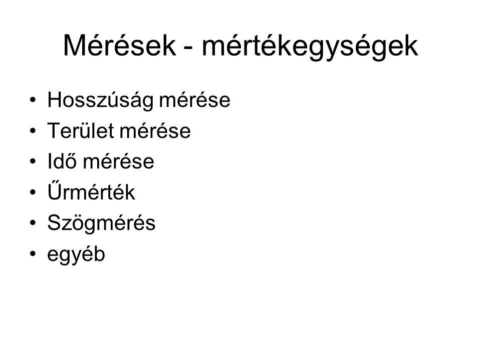 Mérések - mértékegységek Hosszúság mérése Terület mérése Idő mérése Űrmérték Szögmérés egyéb