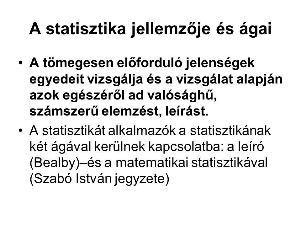 Statisztikai sor Statisztikai adatoknak valamilyen szempont szerinti felsorolása.