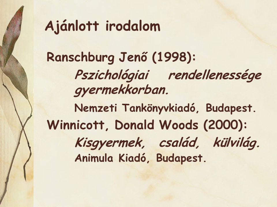 Ajánlott irodalom Ranschburg Jenő (1998): Pszichológiai rendellenessége gyermekkorban.