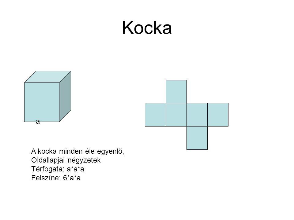 Kocka a A kocka minden éle egyenlő, Oldallapjai négyzetek Térfogata: a*a*a Felszíne: 6*a*a