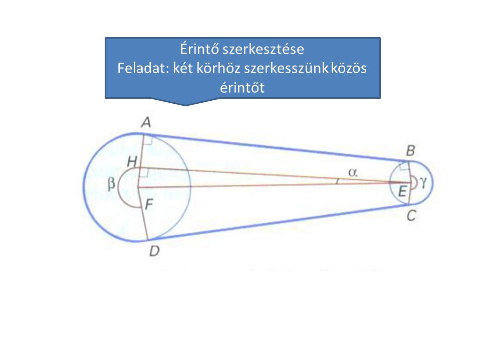 Érintő szerkesztése Feladat: két körhöz szerkesszünk közös érintőt