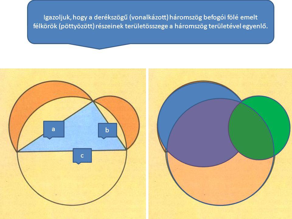 Igazoljuk, hogy a derékszögű (vonalkázott) háromszög befogói fölé emelt félkörök (pöttyözött) részeinek területösszege a háromszög területével egyenlő