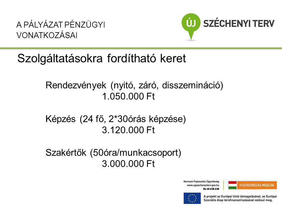 Szolgáltatásokra fordítható keret Rendezvények (nyitó, záró, disszemináció) 1.050.000 Ft Képzés (24 fő, 2*30órás képzése) 3.120.000 Ft Szakértők (50óra/munkacsoport) 3.000.000 Ft A PÁLYÁZAT PÉNZÜGYI VONATKOZÁSAI