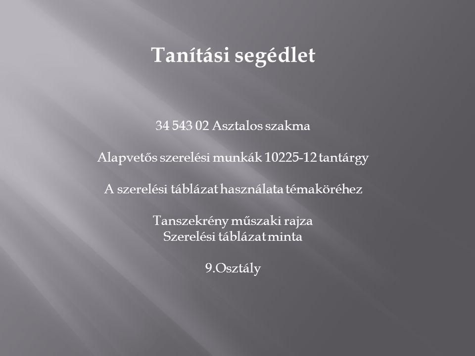 Tanítási segédlet 34 543 02 Asztalos szakma Alapvetős szerelési munkák 10225-12 tantárgy A szerelési táblázat használata témaköréhez Tanszekrény műsza