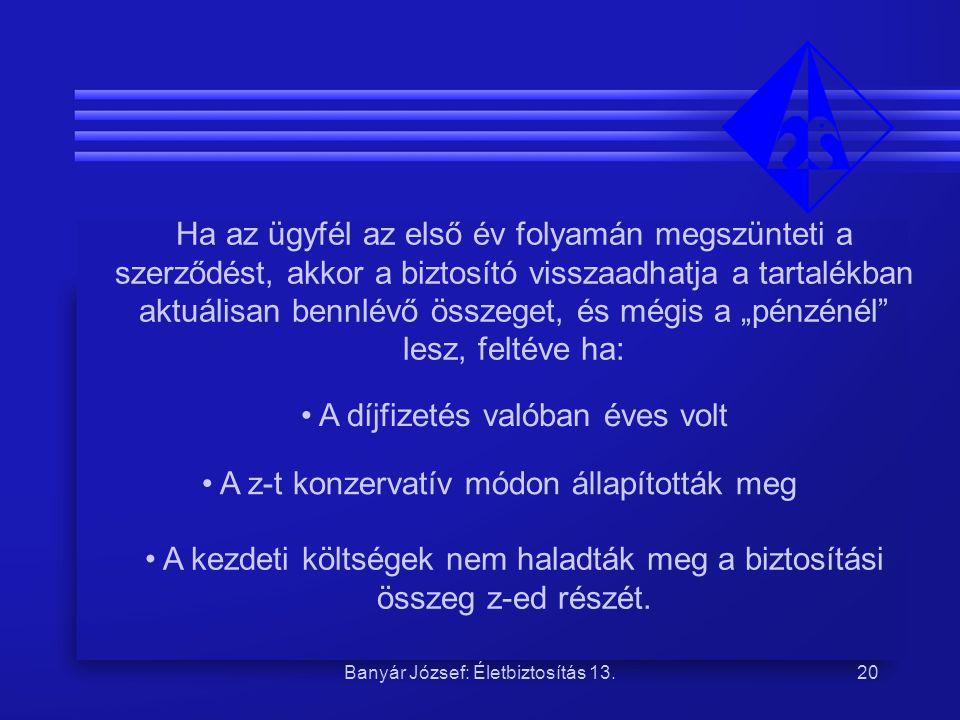 Banyár József: Életbiztosítás 13.20 Ha az ügyfél az első év folyamán megszünteti a szerződést, akkor a biztosító visszaadhatja a tartalékban aktuálisa