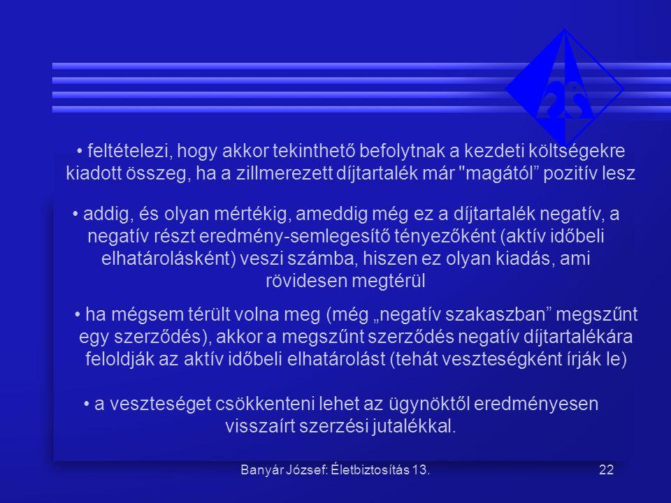 Banyár József: Életbiztosítás 13.22 feltételezi, hogy akkor tekinthető befolytnak a kezdeti költségekre kiadott összeg, ha a zillmerezett díjtartalék