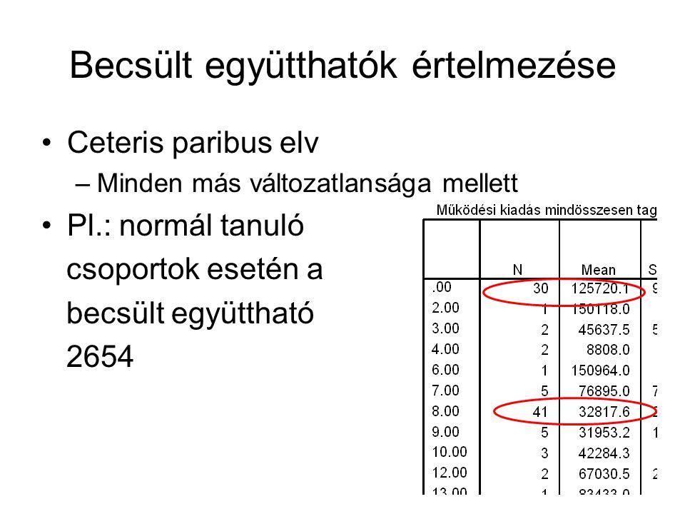 Becsült együtthatók értelmezése Ceteris paribus elv –Minden más változatlansága mellett Pl.: normál tanuló csoportok esetén a becsült együttható 2654