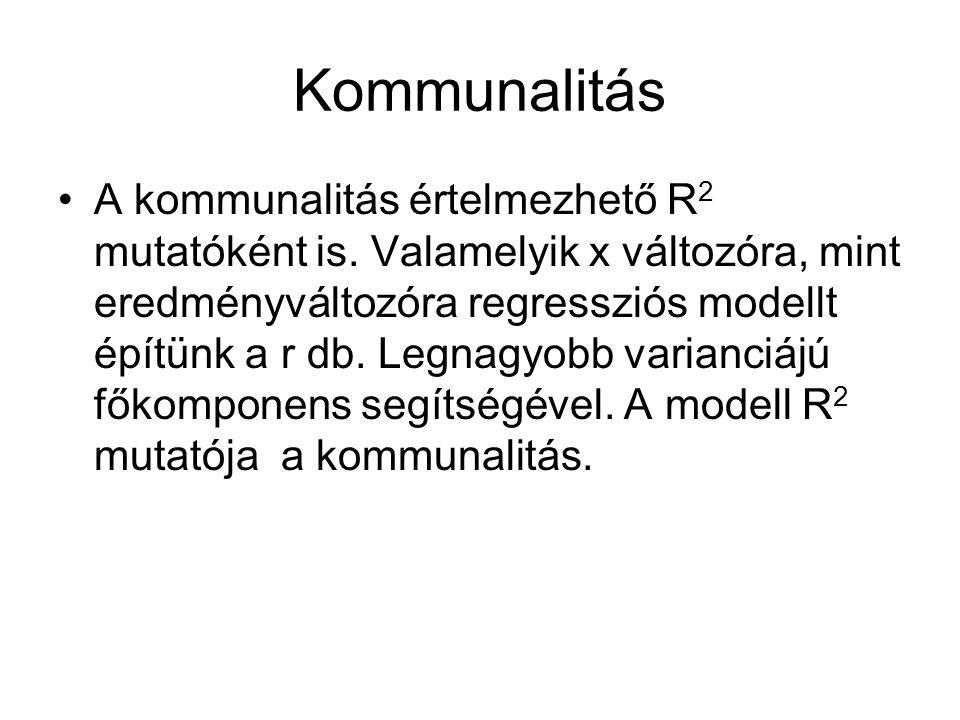 Kommunalitás A kommunalitás értelmezhető R 2 mutatóként is. Valamelyik x változóra, mint eredményváltozóra regressziós modellt építünk a r db. Legnagy