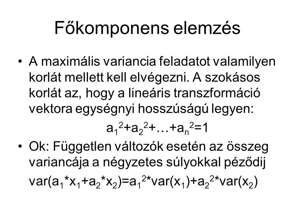 Főkomponens elemzés A maximális variancia feladatot valamilyen korlát mellett kell elvégezni. A szokásos korlát az, hogy a lineáris transzformáció vek