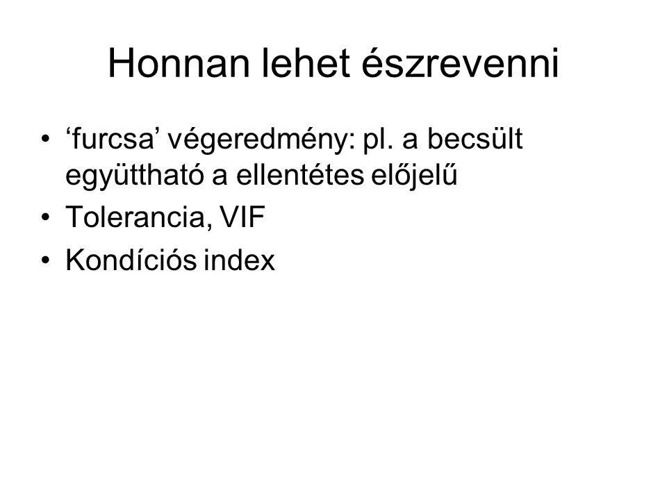 Honnan lehet észrevenni 'furcsa' végeredmény: pl. a becsült együttható a ellentétes előjelű Tolerancia, VIF Kondíciós index