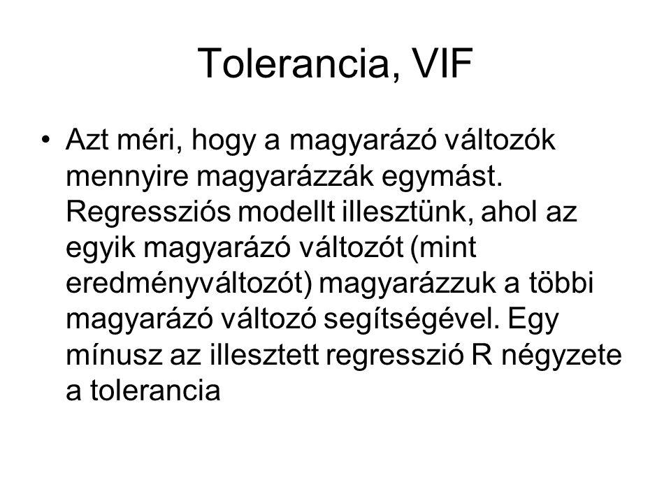 Tolerancia, VIF Azt méri, hogy a magyarázó változók mennyire magyarázzák egymást. Regressziós modellt illesztünk, ahol az egyik magyarázó változót (mi