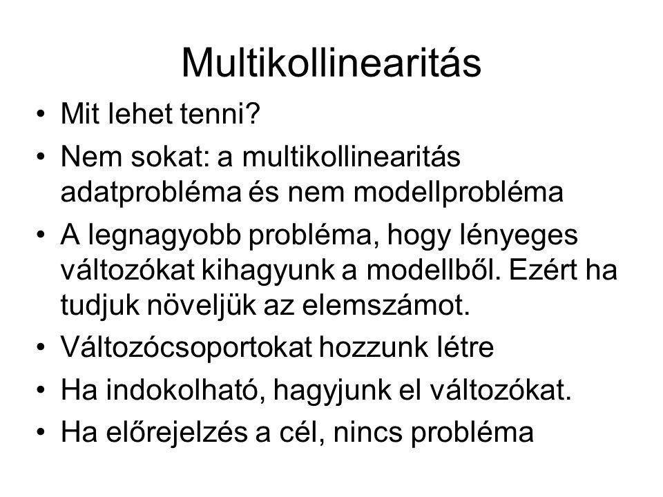 Multikollinearitás Mit lehet tenni? Nem sokat: a multikollinearitás adatprobléma és nem modellprobléma A legnagyobb probléma, hogy lényeges változókat
