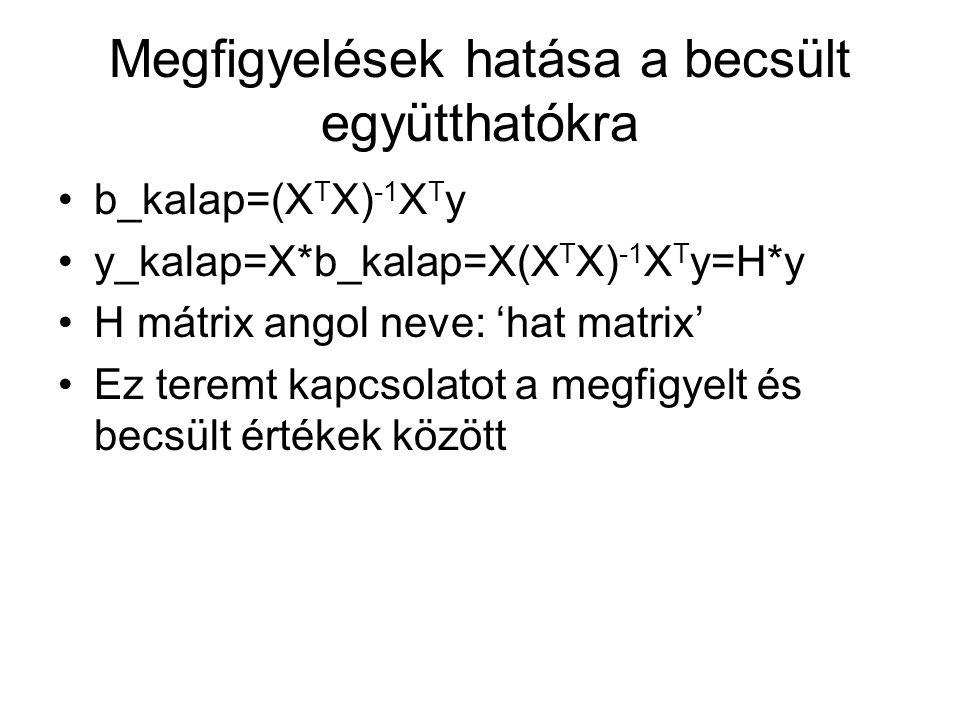 Megfigyelések hatása a becsült együtthatókra b_kalap=(X T X) -1 X T y y_kalap=X*b_kalap=X(X T X) -1 X T y=H*y H mátrix angol neve: 'hat matrix' Ez ter