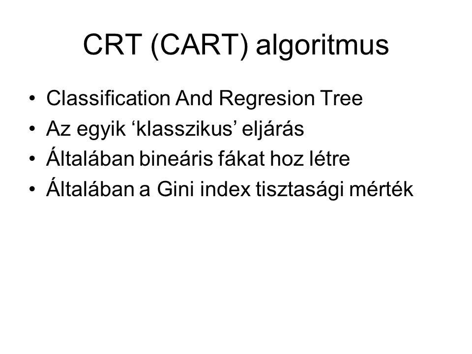 CRT (CART) algoritmus Classification And Regresion Tree Az egyik 'klasszikus' eljárás Általában bineáris fákat hoz létre Általában a Gini index tisztasági mérték
