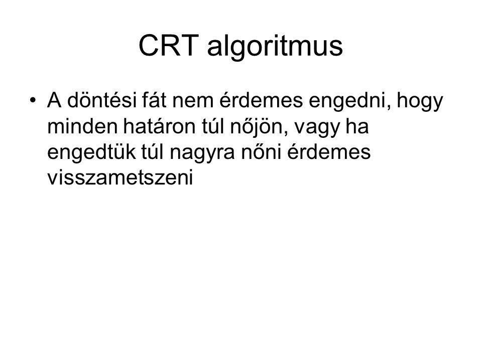 CRT algoritmus A döntési fát nem érdemes engedni, hogy minden határon túl nőjön, vagy ha engedtük túl nagyra nőni érdemes visszametszeni
