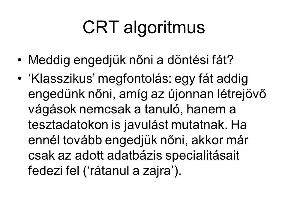 CRT algoritmus Meddig engedjük nőni a döntési fát.