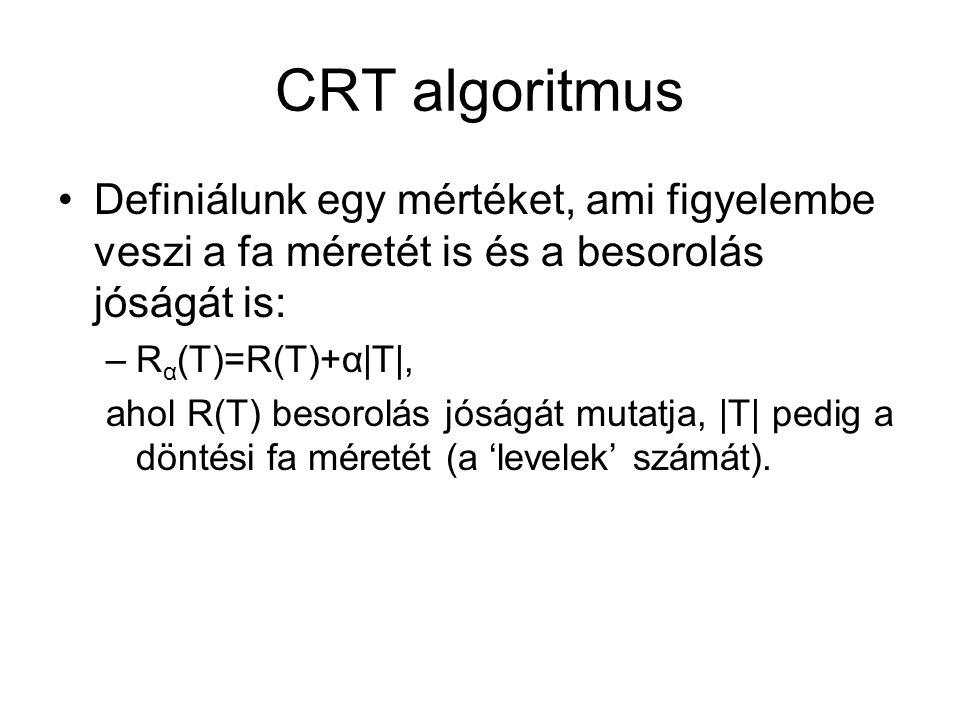 CRT algoritmus Definiálunk egy mértéket, ami figyelembe veszi a fa méretét is és a besorolás jóságát is: –R α (T)=R(T)+α|T|, ahol R(T) besorolás jóságát mutatja, |T| pedig a döntési fa méretét (a 'levelek' számát).
