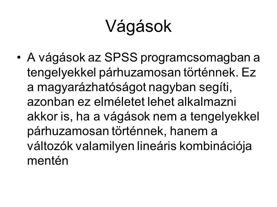 Vágások A vágások az SPSS programcsomagban a tengelyekkel párhuzamosan történnek.