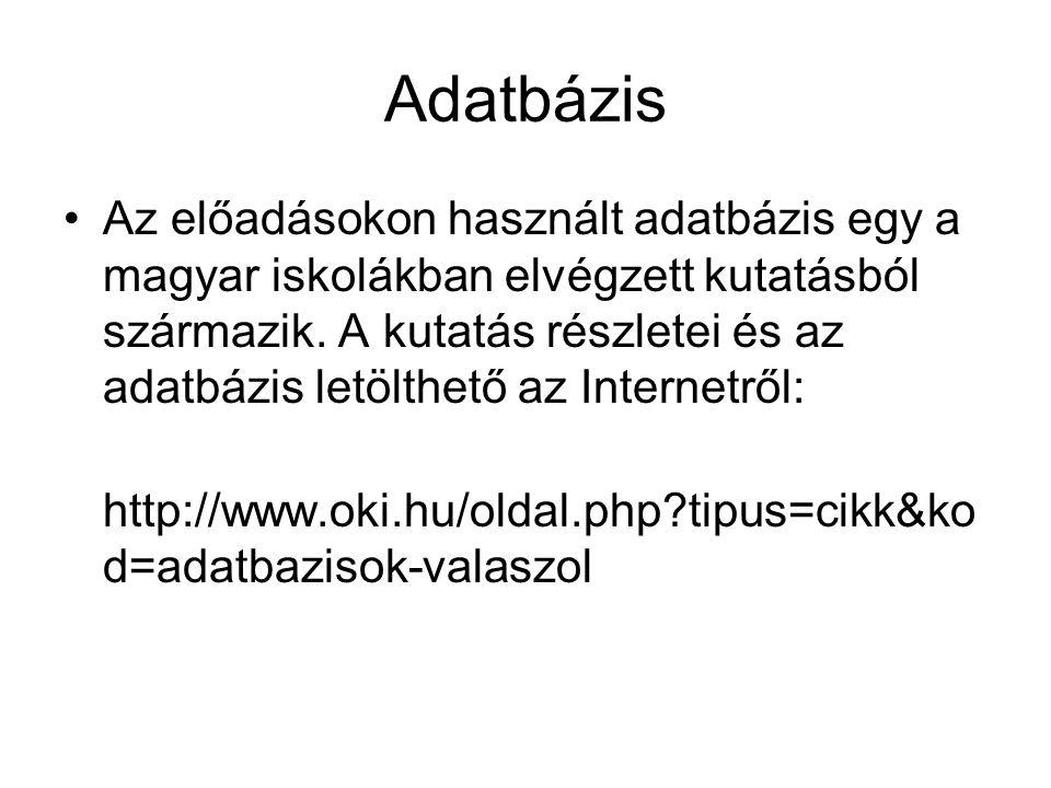 Adatbázis Az előadásokon használt adatbázis egy a magyar iskolákban elvégzett kutatásból származik. A kutatás részletei és az adatbázis letölthető az