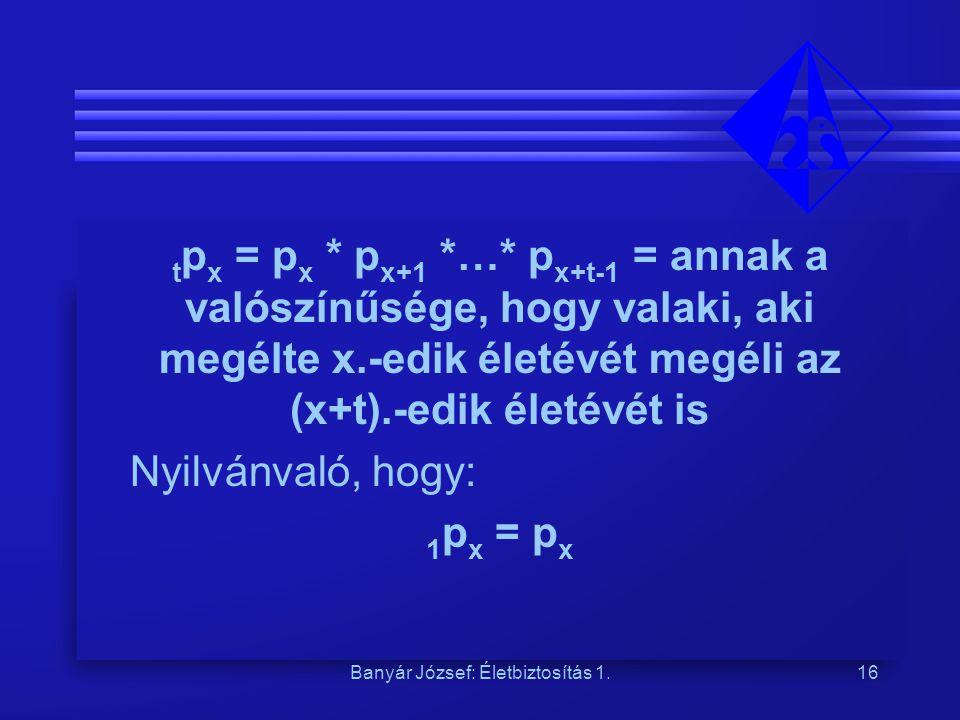 Banyár József: Életbiztosítás 1.16 t p x = p x * p x+1 *…* p x+t-1 = annak a valószínűsége, hogy valaki, aki megélte x.-edik életévét megéli az (x+t).-edik életévét is Nyilvánvaló, hogy: 1 p x = p x