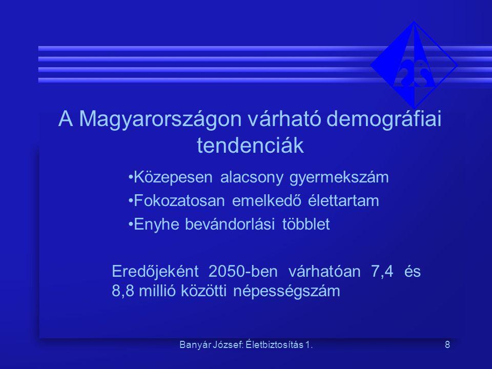 Banyár József: Életbiztosítás 1.8 A Magyarországon várható demográfiai tendenciák Közepesen alacsony gyermekszám Fokozatosan emelkedő élettartam Enyhe bevándorlási többlet Eredőjeként 2050-ben várhatóan 7,4 és 8,8 millió közötti népességszám