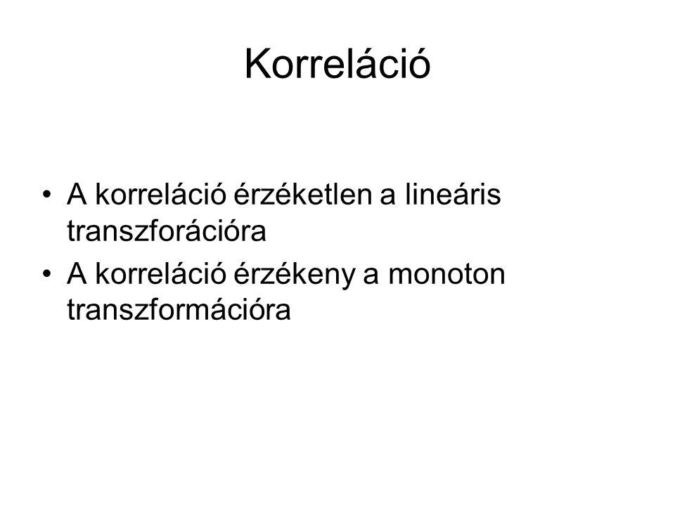 A korreláció érzéketlen a lineáris transzforációra A korreláció érzékeny a monoton transzformációra