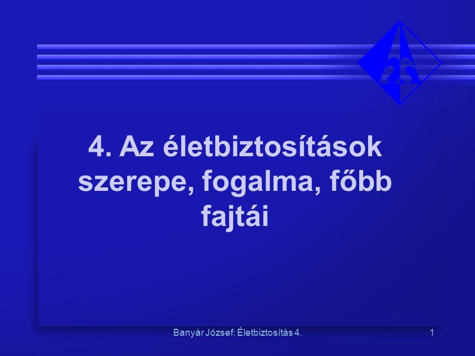 Banyár József: Életbiztosítás 4.1 4. Az életbiztosítások szerepe, fogalma, főbb fajtái