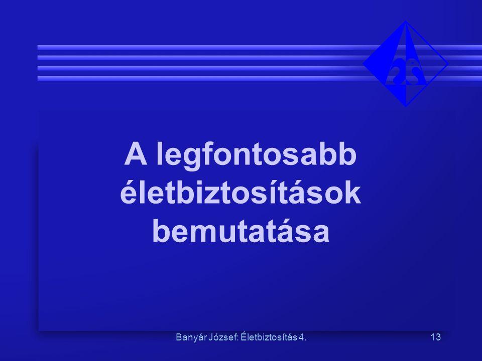 Banyár József: Életbiztosítás 4.13 A legfontosabb életbiztosítások bemutatása