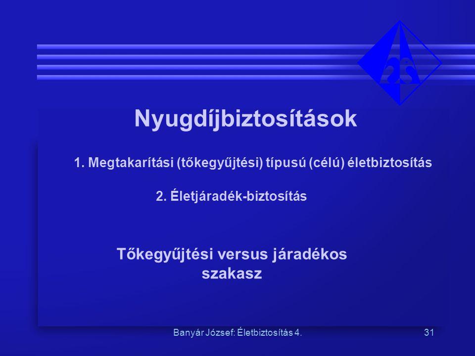 Banyár József: Életbiztosítás 4.31 Nyugdíjbiztosítások 1. Megtakarítási (tőkegyűjtési) típusú (célú) életbiztosítás 2. Életjáradék-biztosítás Tőkegyűj