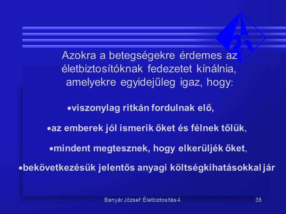 Banyár József: Életbiztosítás 4.35 Azokra a betegségekre érdemes az életbiztosítóknak fedezetet kínálnia, amelyekre egyidejűleg igaz, hogy :  viszony