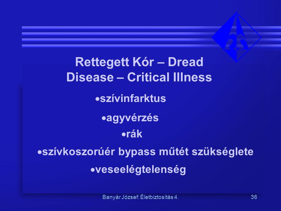 Banyár József: Életbiztosítás 4.36 Rettegett Kór – Dread Disease – Critical Illness  szívinfarktus  agyvérzés  rák  szívkoszorúér bypass műtét szü