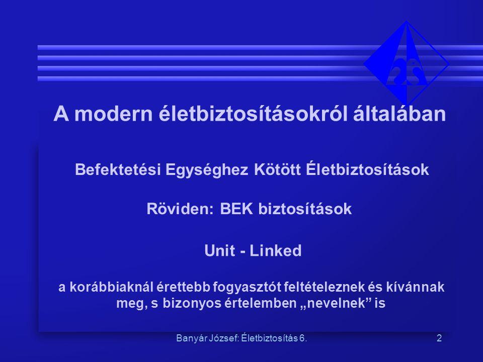 Banyár József: Életbiztosítás 6.2 A modern életbiztosításokról általában Befektetési Egységhez Kötött Életbiztosítások Röviden: BEK biztosítások Unit