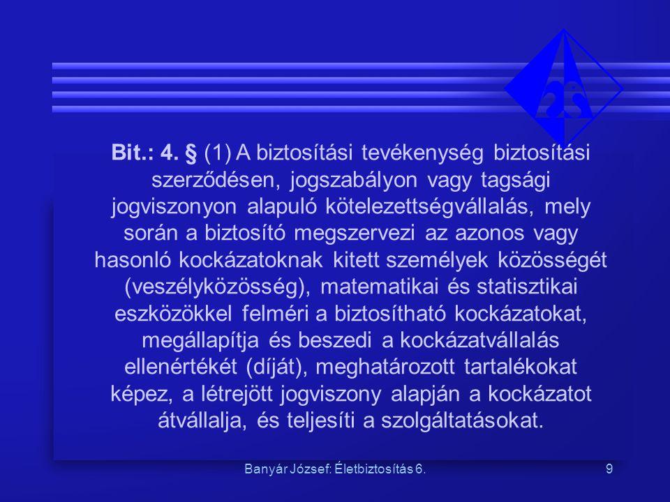 Banyár József: Életbiztosítás 6.9 Bit.: 4. § (1) A biztosítási tevékenység biztosítási szerződésen, jogszabályon vagy tagsági jogviszonyon alapuló köt