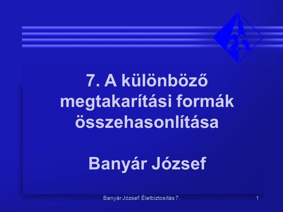 Banyár József: Életbiztosítás 7.1 7. A különböző megtakarítási formák összehasonlítása Banyár József