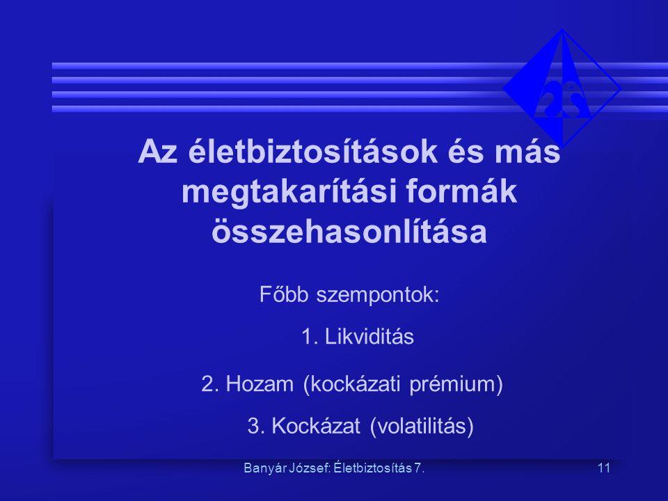 Banyár József: Életbiztosítás 7.11 Az életbiztosítások és más megtakarítási formák összehasonlítása Főbb szempontok: 1. Likviditás 2. Hozam (kockázati